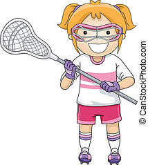 Lacrosse Girl - Illustration of a Girl Dressed in Lacrosse...