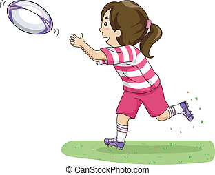 Rugby Pass - Illustration of a Girl Catching a Rugby Ball