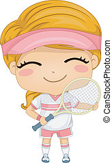 Tennis Girl - Illustration of a Girl Dressed in Tennis Gear