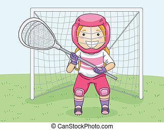 Lacrosse Goalie - Illustration of a Girl in Lacrosse Gear...
