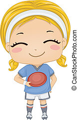 Frisbee Girl - Illustration of a Girl Dressed in Frisbee...