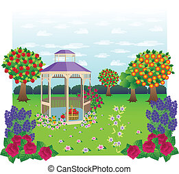 Gazebo Garden - Beautiful Gazebo set in a garden scene