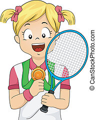 Tennis Medal Girl - Illustration of a Young Female Tennis...