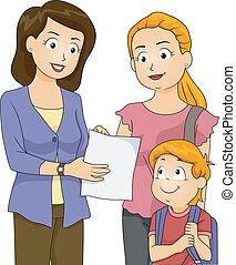 Progress Report - Illustration of a Teacher Showing Her...