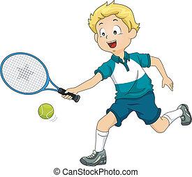 Lawn Tennis Boy - Illustration of a Boy Playing Lawn Tennis