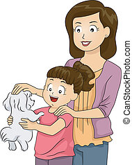Mom and Daughter Petting Dog - Illustration of a Mother and...