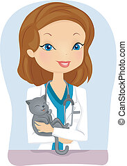 Cat Veterinarian - Illustration of a Female Veterinarian...