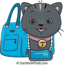 Cat Carrier - Illustration Featuring a Cat Peeking From a...