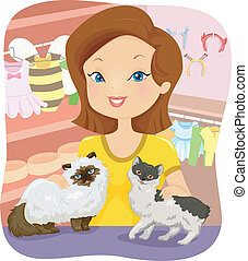 Cat Shop - Illustration of a Woman Tending to a Shop...