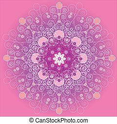 Pink Bohemian Snowflake or Mandala