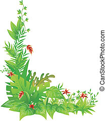 Jungle Corner Border - Corner Border Illustration Featuring...