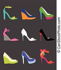 Unique colorful women shoe icons set - flat modern design on...