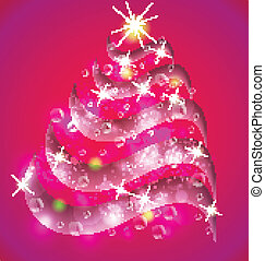Christmas tree pink background