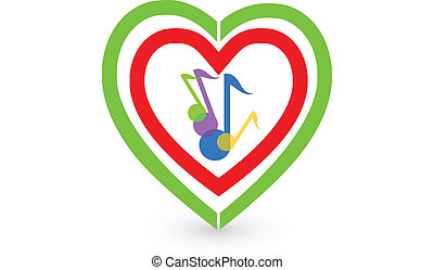 Music notes and heart vector logo