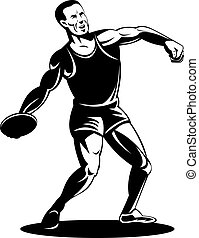 Athlete discus throw - Illustration of an athlete performing...