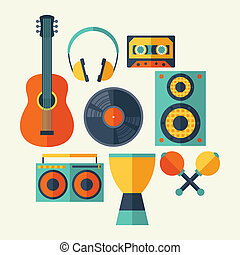 Set of musical instruments in flat design style