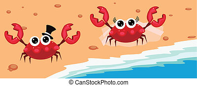 Mr. and Mrs. Crab - Wedding crabs on the beach