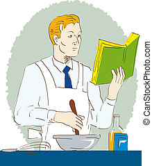 Man cooking while reading - Illustration of a man cooking...