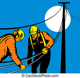 Linemen carrying line - Illustration of linemen carrying...