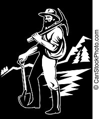 Miner with pick ax - Illustration of a miner with a pick ax...