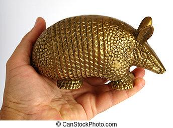 Golden armadillo - Bronze statuette of an armadillo in hand...