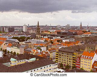 Retro look Copenhagen Denmark - Vintage looking View of the...