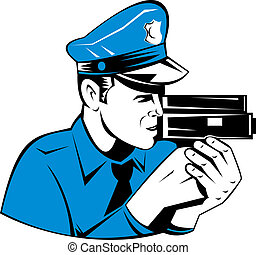 Police officer with speed camera - Illustration of a police...