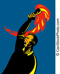 Worker revolting with torch