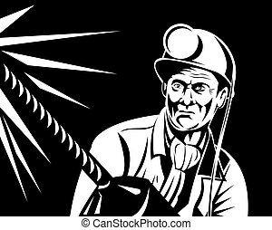 Miner portrait - Illustration of a black and white miner in...
