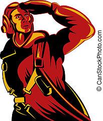 World War II pilot salute - Illustration of a World War II...