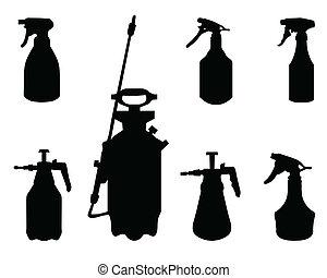 sprayer - Black silhouettes of sprayer on a white...