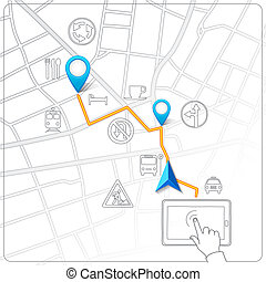 Using tablet for street map navigation vector background