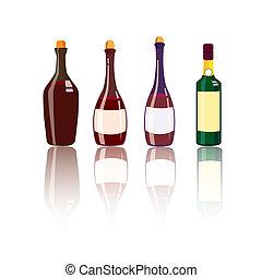 Liquor Bottles - Vector illustration of liquor bottles with...