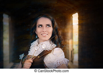 Steampunk Girl with Lorgnette - Young woman in steampunk...