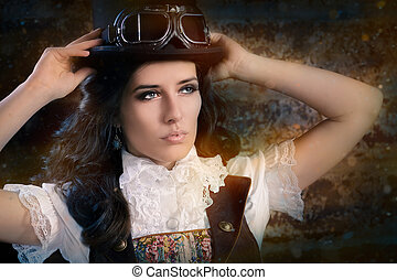 Steampunk Girl with Top Hat - Portrait of a young woman...