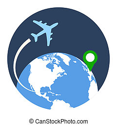 Business Travel Icon Flat style illustration Isolated in...