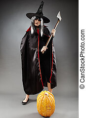 Witch full length shot - Full length of a sorcerer with hat...
