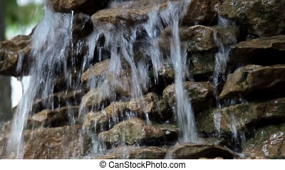 FullHD video of small waterfall in forest river - FullHD...
