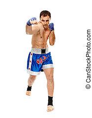 kickbox, lutador, executar, soco