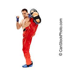 kickbox, lutador, executar, pontapé