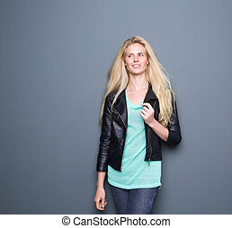 Portrait of a stylish young blond woman