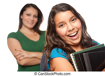 Proud Hispanic Mother and Daughter Ready for School