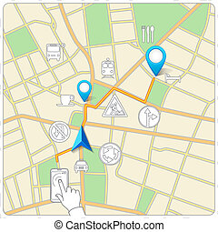 Using phone for street map navigation vector background