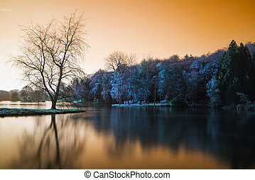 False color lake landscape with calm relfection - Beautiful...