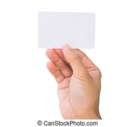 Business card in female hand - Credit card female hand...