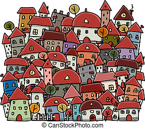 Autumn city sketch, background for your design. Vector...