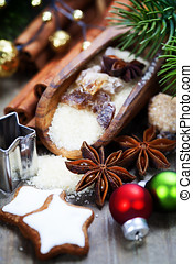 Baking Christmas cookies - spices and brown sugar for a...
