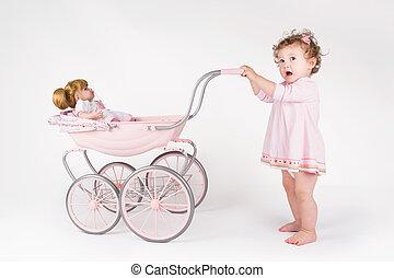 furcsa, csecsemő, leány, gyalogló, baba,...