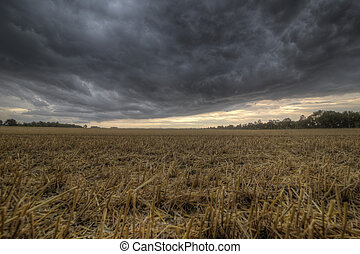 Stubble field and approaching storm - The picture shows a...