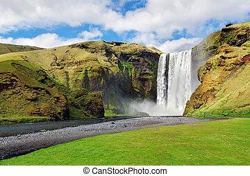 Islandia, cascada,  -,  Skogafoss